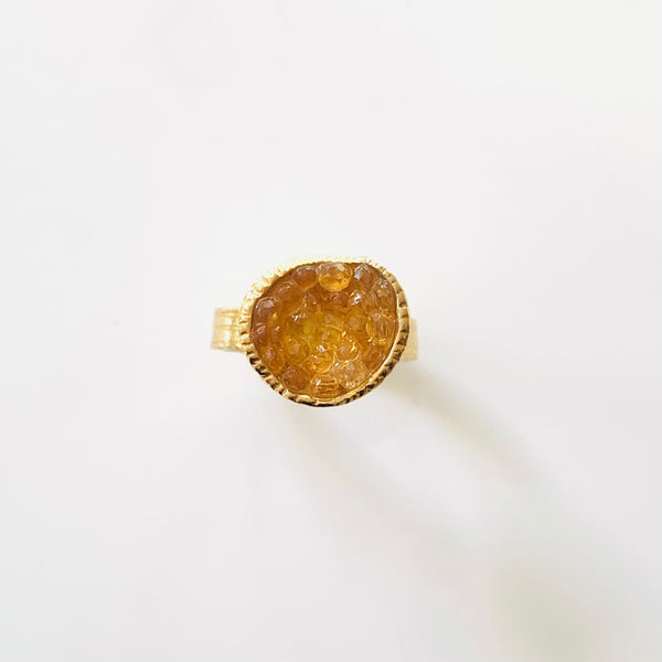 Geode Small Ring in Gold: Citrine