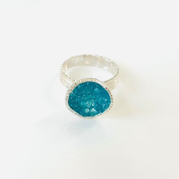 Geode Small Ring in Silver: Apatite