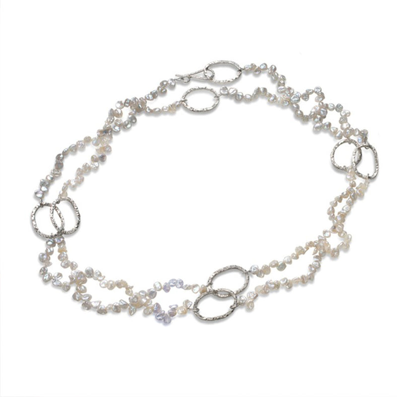 Linked Pearl Necklace: Silver