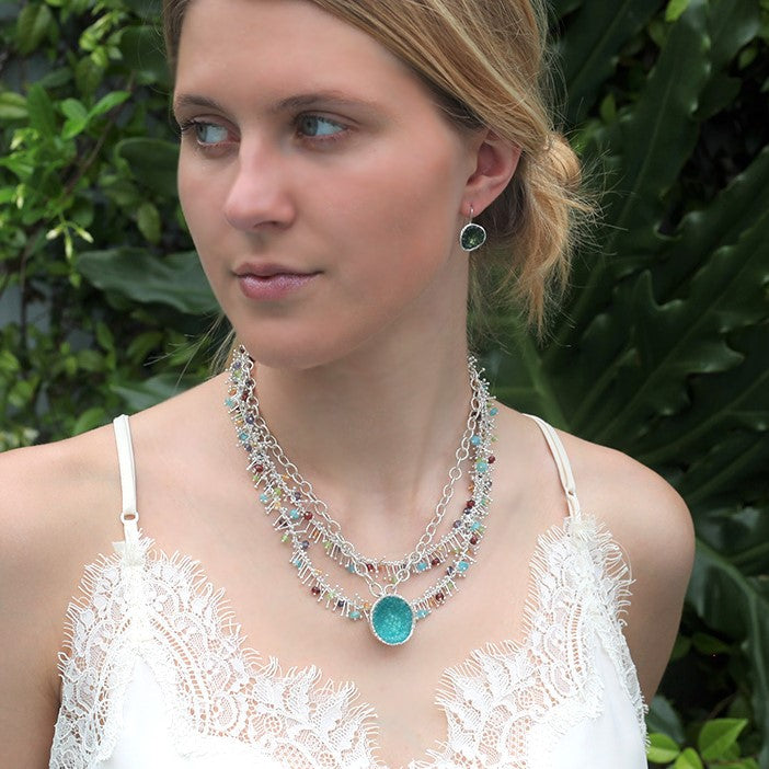 Geode Large Necklace in Silver: Apatite