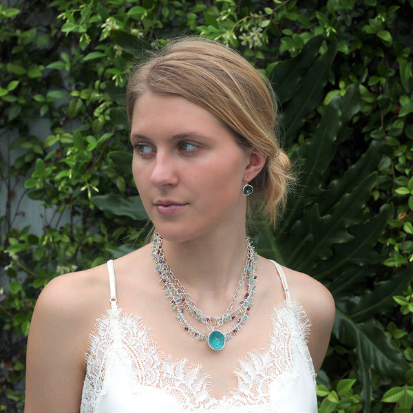 Delicate Feather Long Necklace in Silver: Multi-Gem