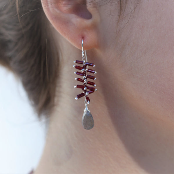Helix Earrings: Rojo/Labradorite