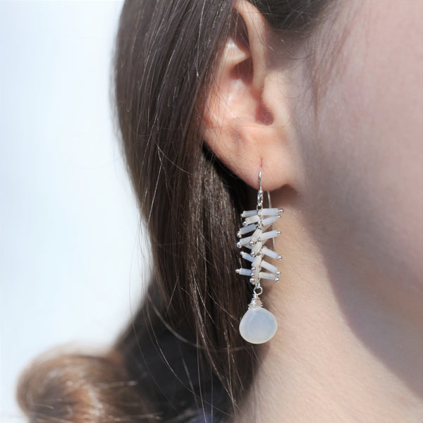 Helix Earrings: Blanco/Moonstone
