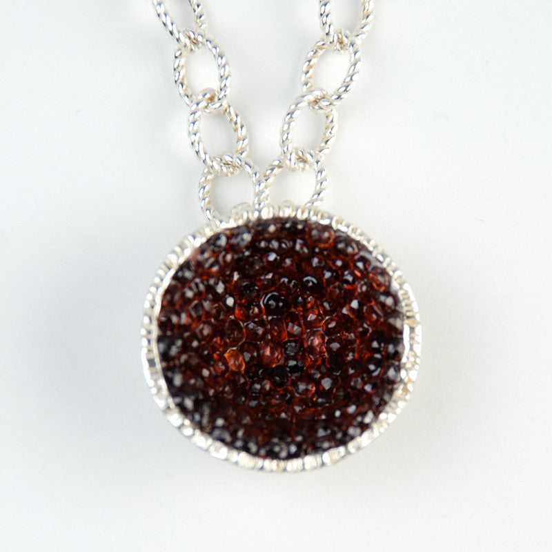Geode Large Necklace in Silver: Garnet