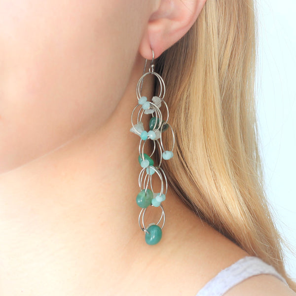 OXOXO Earrings: Green-Aqua