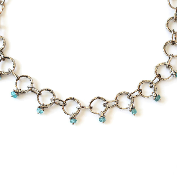 Forged Taper Ring Necklace: Apatite