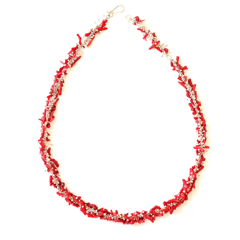 Delicate Feather Necklace: Red Coral