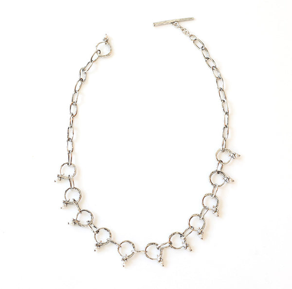 Forged Taper Ring Necklace: Pearl