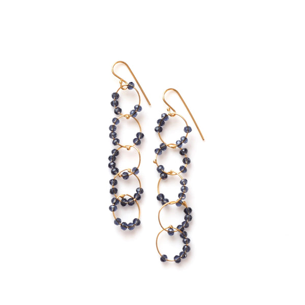OXOXO Earrings: Gold & Iolite