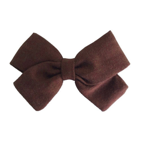 Fabric Bow Clip - Brown