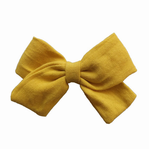 Fabric Bow Clip - Yellow