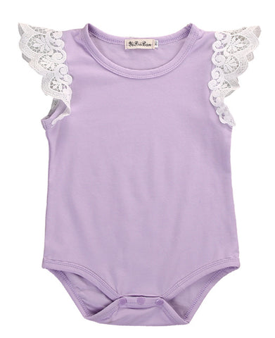 Princess Short Sleeve Romper - Purple