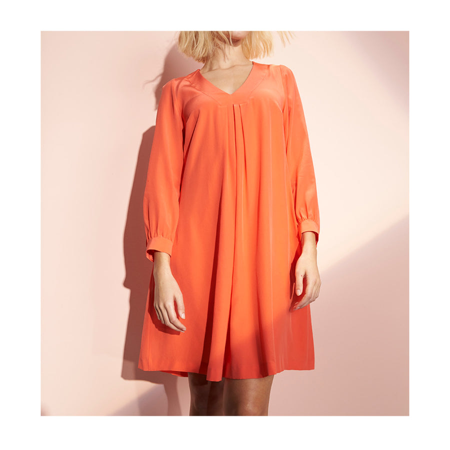 "Dress ""DALLAS"" crepe de chine flamigo"
