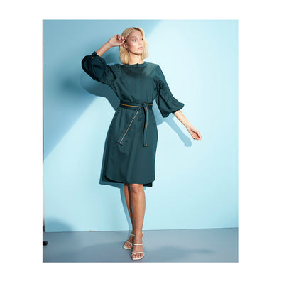 "Dress ""DUBLIN"" cotton satin bottlegreen"