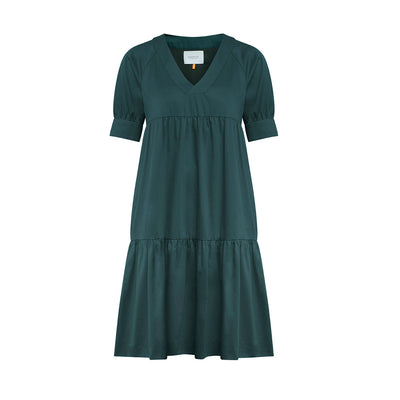 "Dress ""DANNY"" cottonsatin bottlegreen"