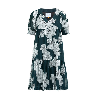 "Dress ""DANNY"" flower print bottlegreen"