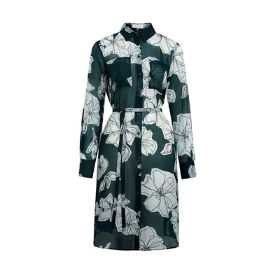 "Dress ""DESTINY"" cotton silk batist flower print greenbottle"