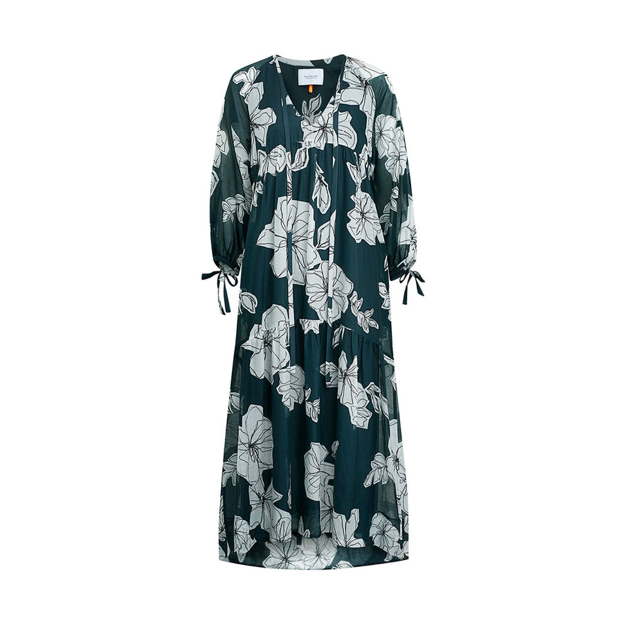 "Dress ""DOLCE"" flower print greenbottle"
