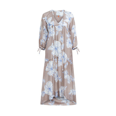 "Dress ""DOLCE"" flower print rosewood"