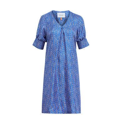 "Dress ""DORY"" ikat heringbone print blue"
