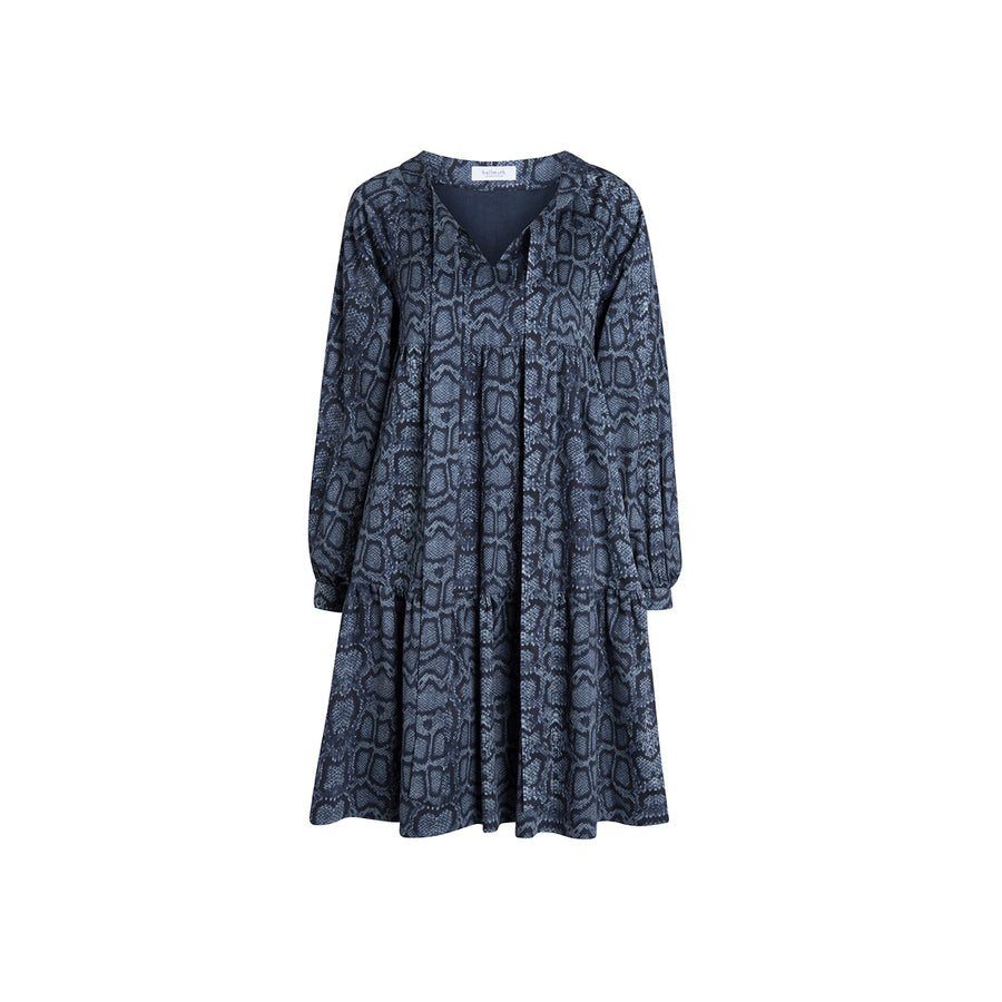 "Dress ""KIWI"" python print blue"