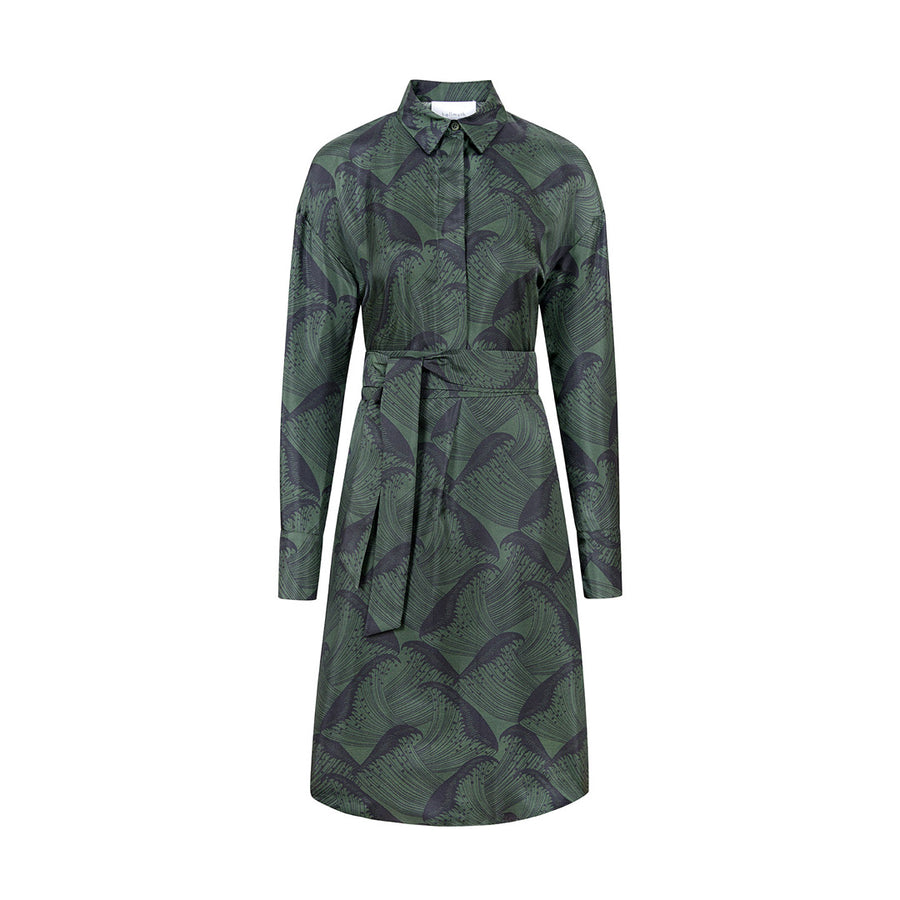 "DRESS ""KIM"" WAVE PRINT FOREST GREEN"