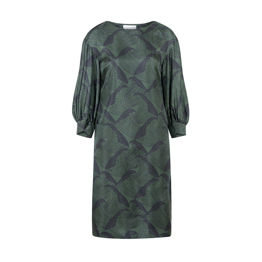 "DRESS ""KURRY"" JAPANESE WAVE FOREST GREEN"