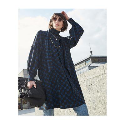 "Dress ""KUDO"" dot chain indigo"
