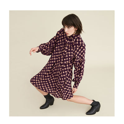"Dress ""KUDO"" dot chain berry"