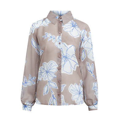 "Blouse ""BETTY"" flower print rosewood"