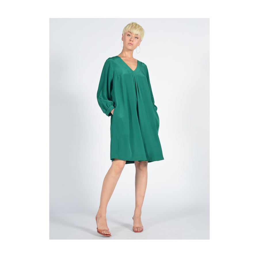 "Dress ""DALLAS"" crepe de chine green"