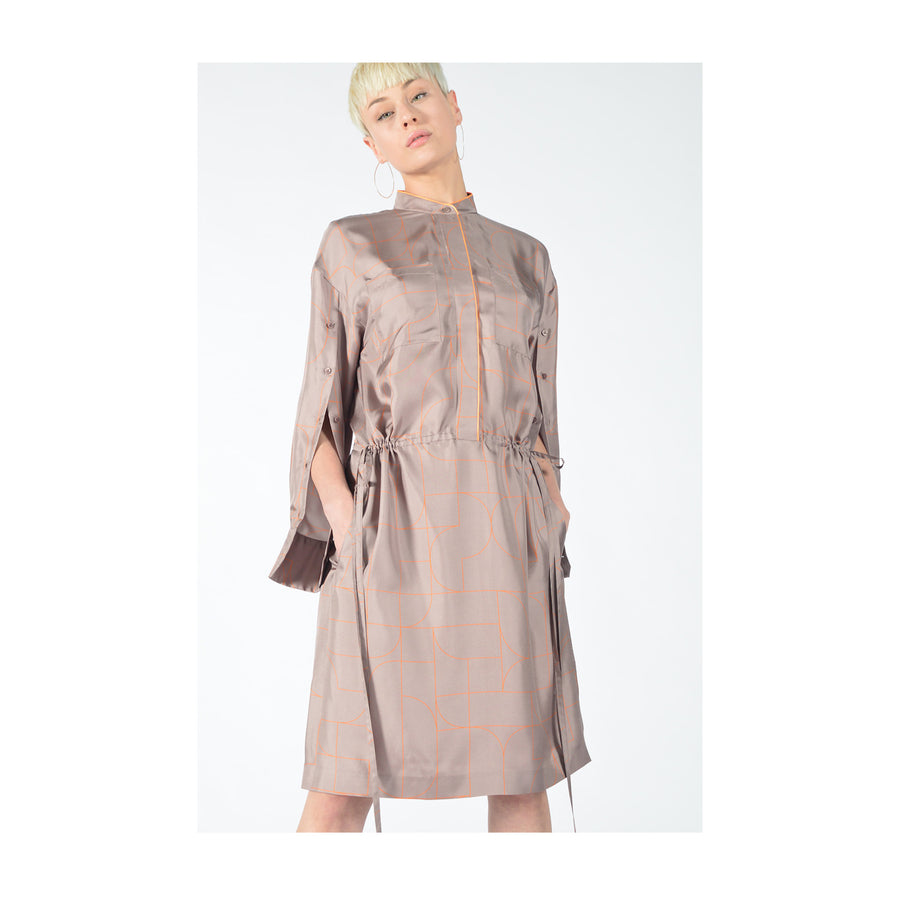 "Dress ""DUSTY"" lines print taupe fancy"