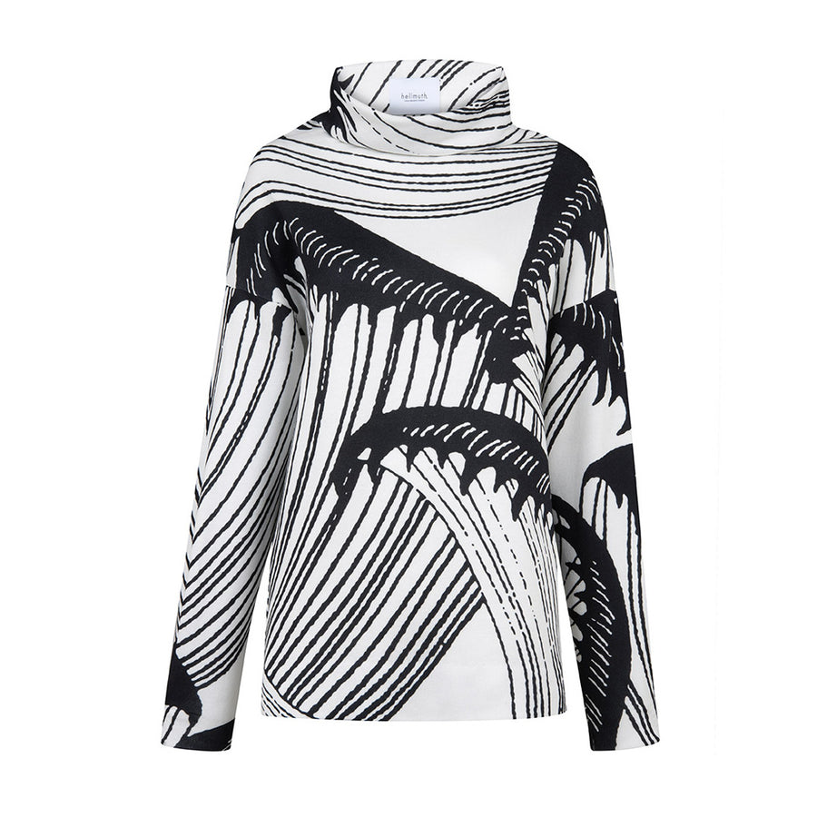 "Sweater ""SHARI"" BIG WAVE print black and white"