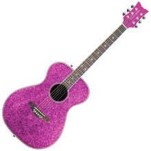 Load image into Gallery viewer, Daisy Rock 6 String Acoustic Guitar, Pink Sparkle Pixie - benson-music-shop