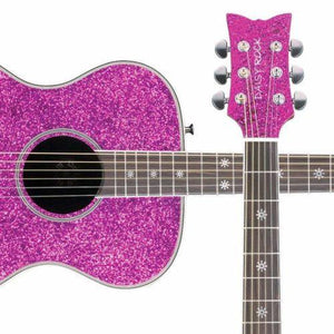 Daisy Rock 6 String Acoustic Guitar, Pink Sparkle Pixie - benson-music-shop
