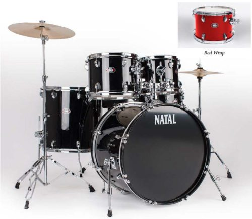 Natal Drums  5 Drum Set, Black or Red - benson-music-shop