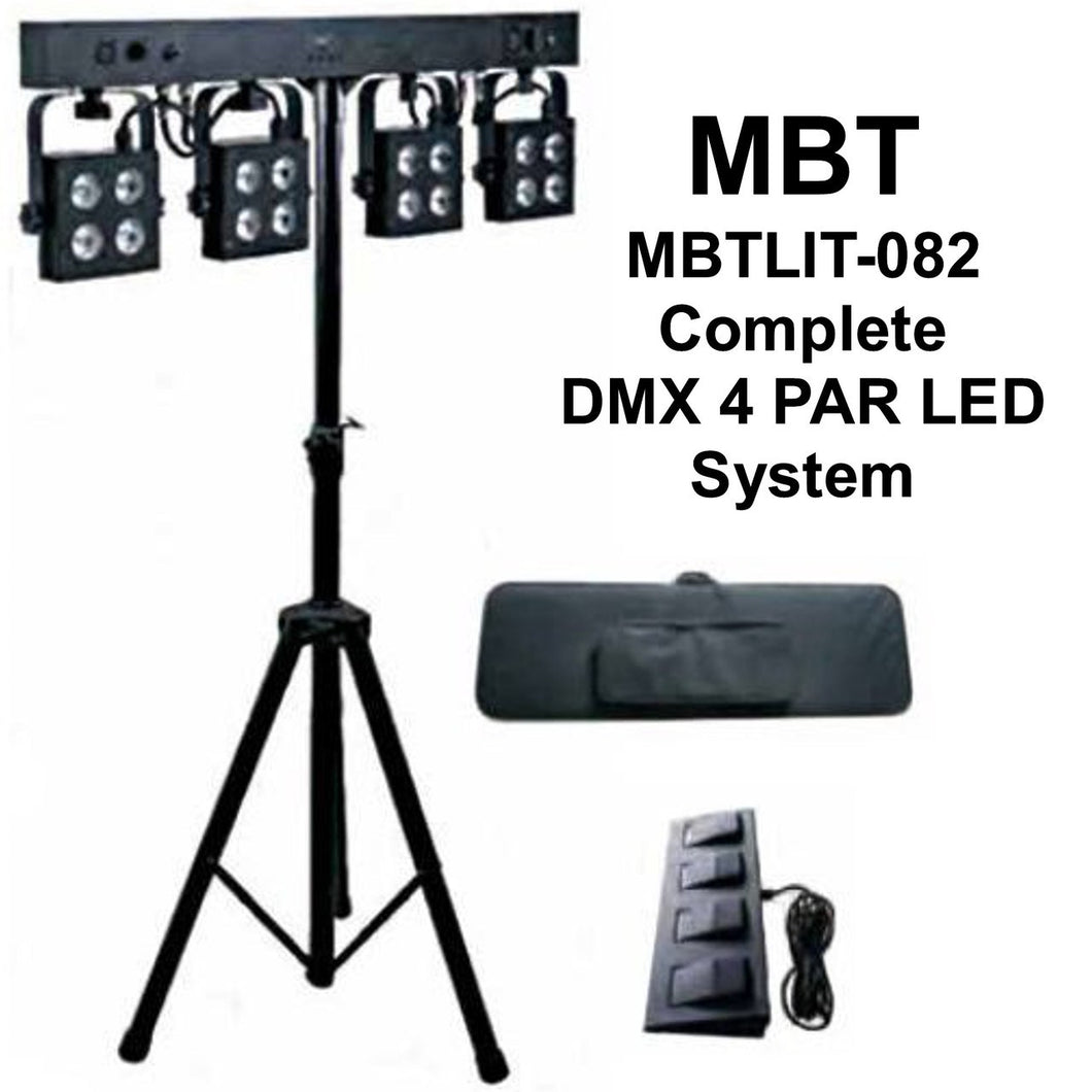 MBT MBTLIT-082 DMX 4 Par Lighting System, Clear - Complete