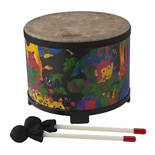 Remo Kids Percussion Floor Tom Drum - Fabric Rain Forest, 10 inch