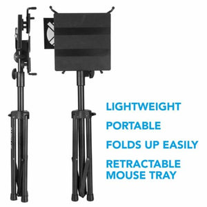 Quik Lok Fully Adjustable Tripod Laptop Holder and Desk, with pull-out mouse tray, LPH-003