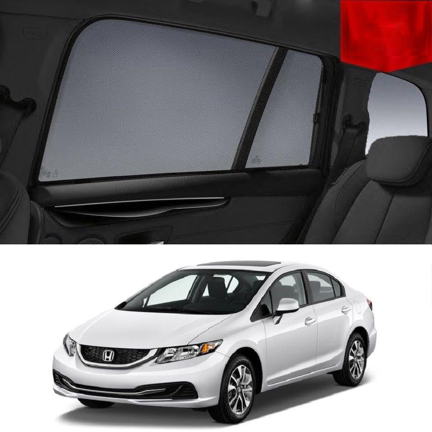 For HONDA Civic 9th Gen 2011-2015 Magnetic Rear Side Car Window Sun Blind Shade Mesh