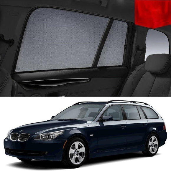BMW 5 Series 2007-2009 E61 Car Shades | Snap On Magnetic Sun Shades Window Blind