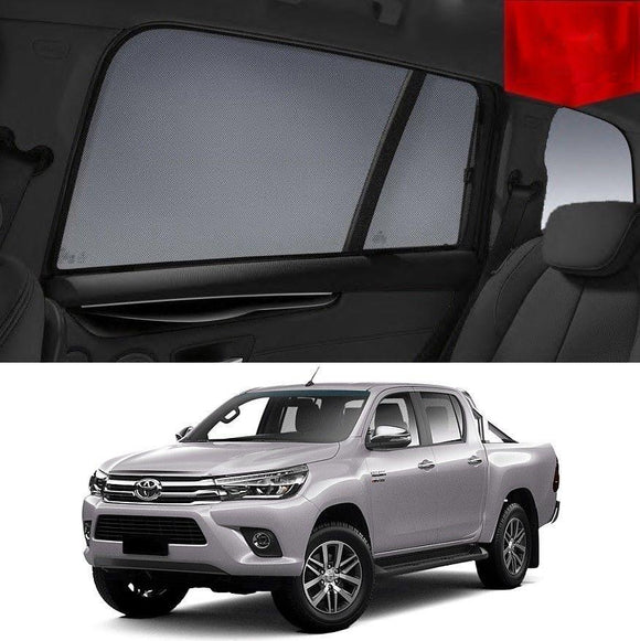 TOYOTA HILUX Double Cab 2015-2020 Car Shades | Snap On Magnetic Sun Shades Window Blind