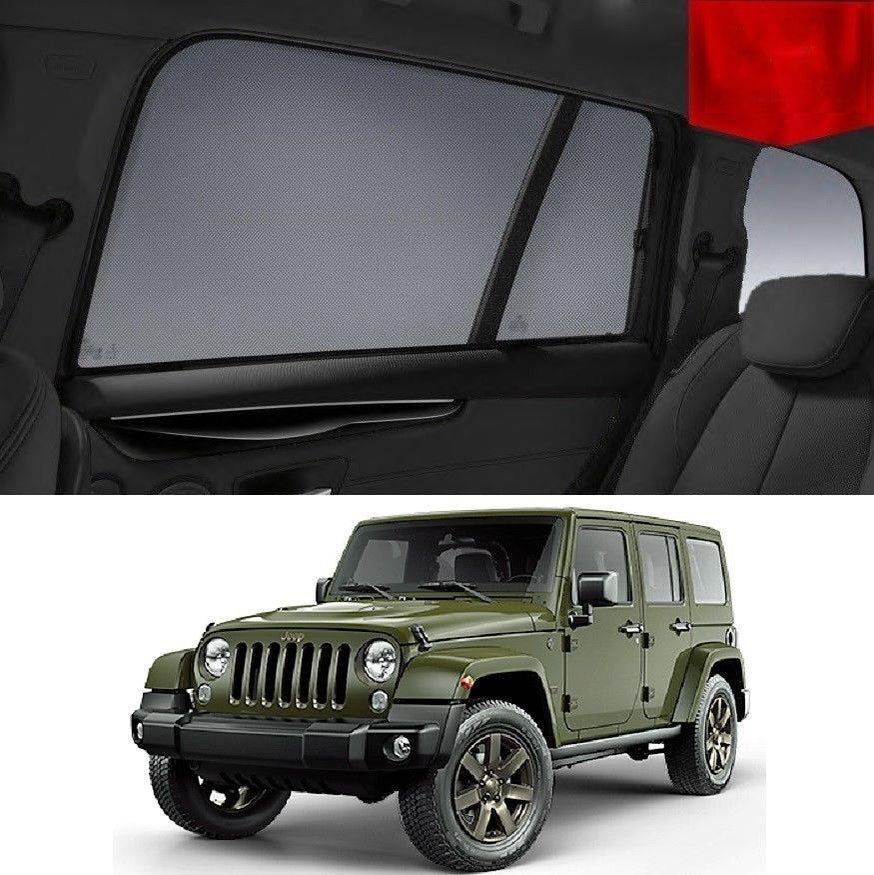 For JEEP  Wrangler SUV 4D 2007-2017 JK Rear Side Car Window Sun Blind Sun Shade Mesh