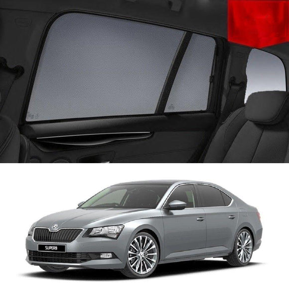 SKODA SUPERB Sedan 2015-2019   Car Shades | Snap On Magnetic Sun Shades Window Blind