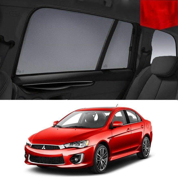 Mitsubishi LANCER 2015-2017 CF   Car Shades | Snap On Magnetic Sun Shades Window Blind