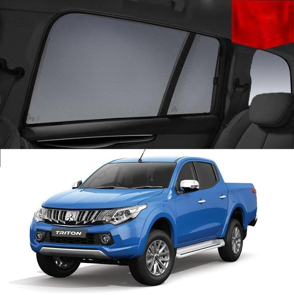 Mitsubishi Triton 2015-2019 MQ   Car Shades | Snap On Magnetic Sun Shades Window Blind
