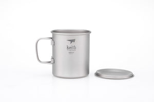Keith Titanium Mug with Cover and Folding Handle Ti3204