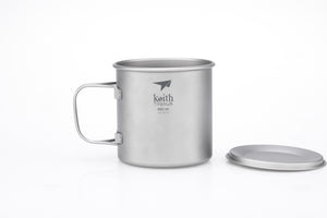 Keith Single-Wall Titanium Mug with  Folding Handle and Lid Ti3208