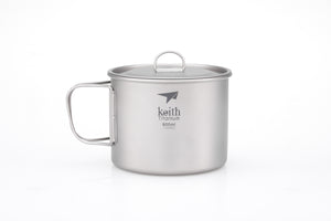 Keith Single-Wall Titanium Mug with  Folding Handle and Lid Ti3209