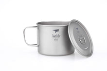 Load image into Gallery viewer, Keith Single-Wall Titanium Mug with  Folding Handle and Lid Ti3209